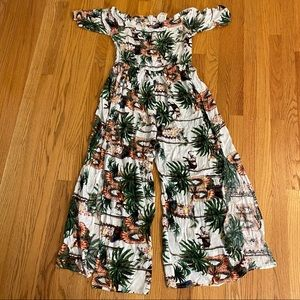 Jaase Tropical Print Off-Shoulder Jumpsuit M